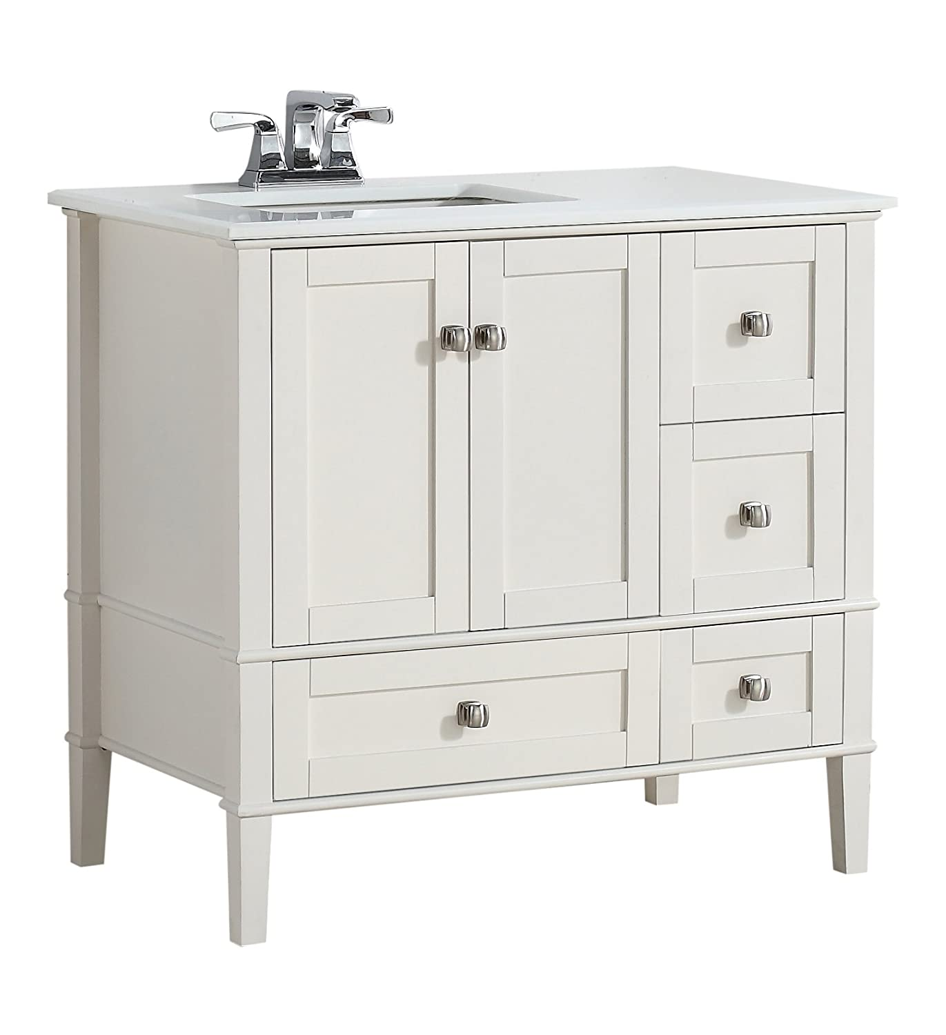 simpli inch top amazon vanity bathroom marble home soft left white bath offset chelsea com with dp quartz