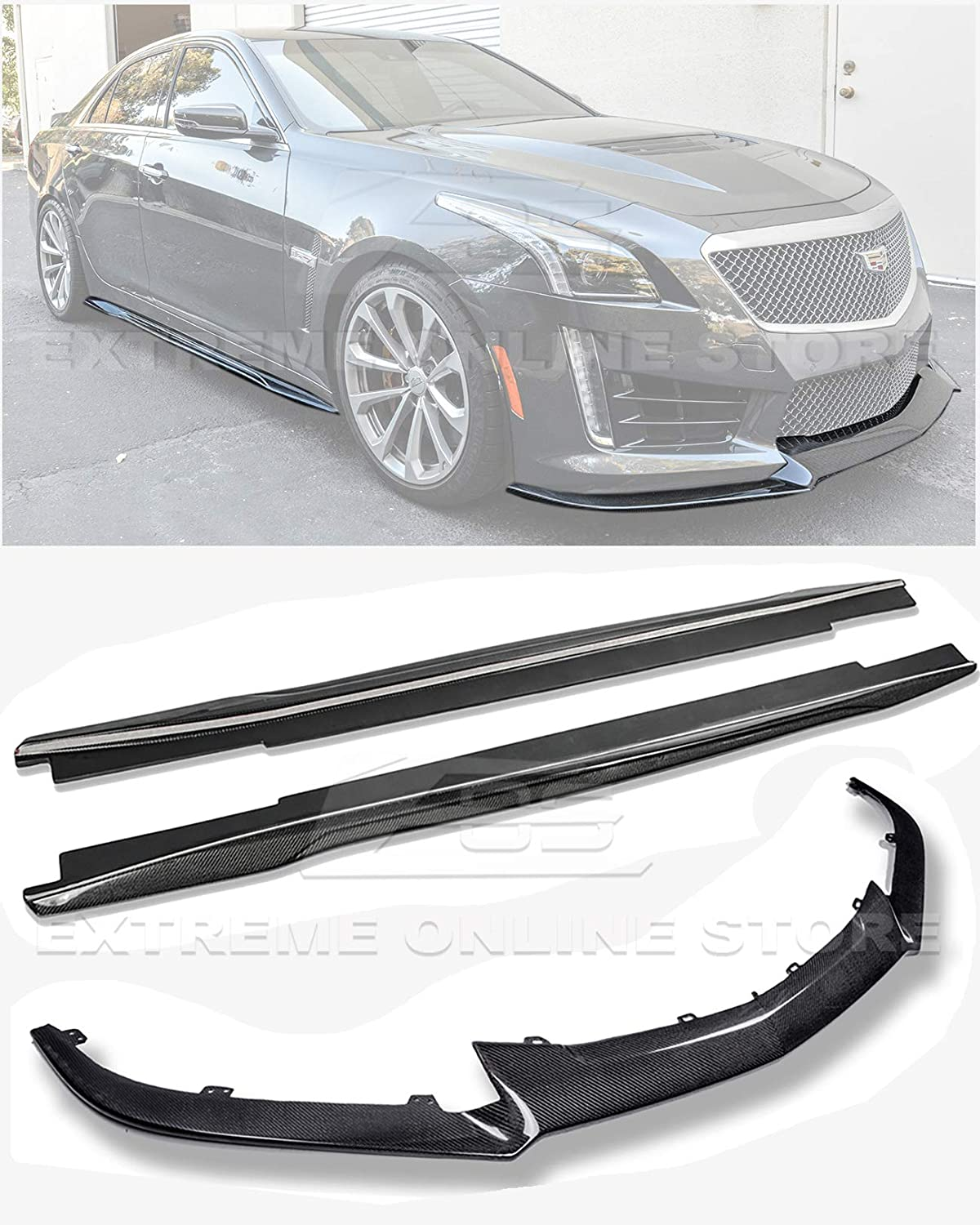 EOS Carbon Package Style Carbon Fiber Rear Bumper Trunk Lid Wing Spoiler Extreme Online Store for 2016-2019 Cadillac CTS-V Models
