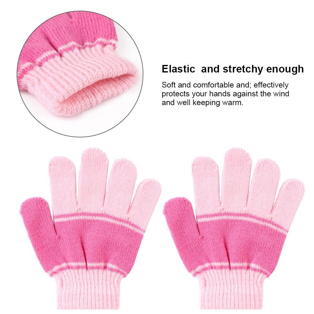 Vbiger Kinder Wintermütze Winterschal Kinder Handschuhe Beanie Kinder Strickmütze