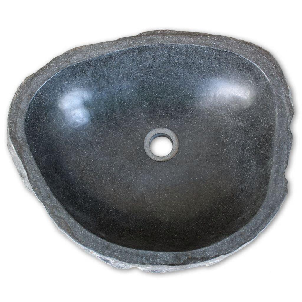 Nishore Lavabo R/ústico Forma Ovalada de Piedra de R/ío Natural 38-45 cm Lavamanos Ba/ño