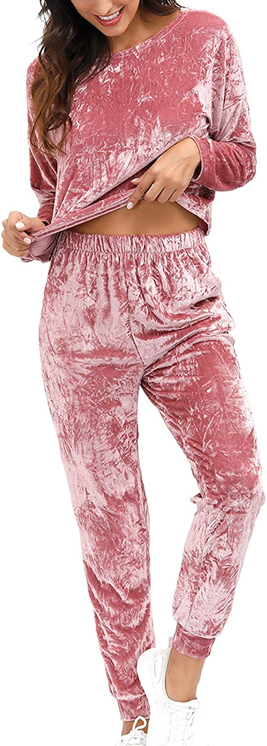 Velvet Pajama Set for Women - Winter 2 Piece Outfit Solid Wrinkle Loungewear Lounge Sets