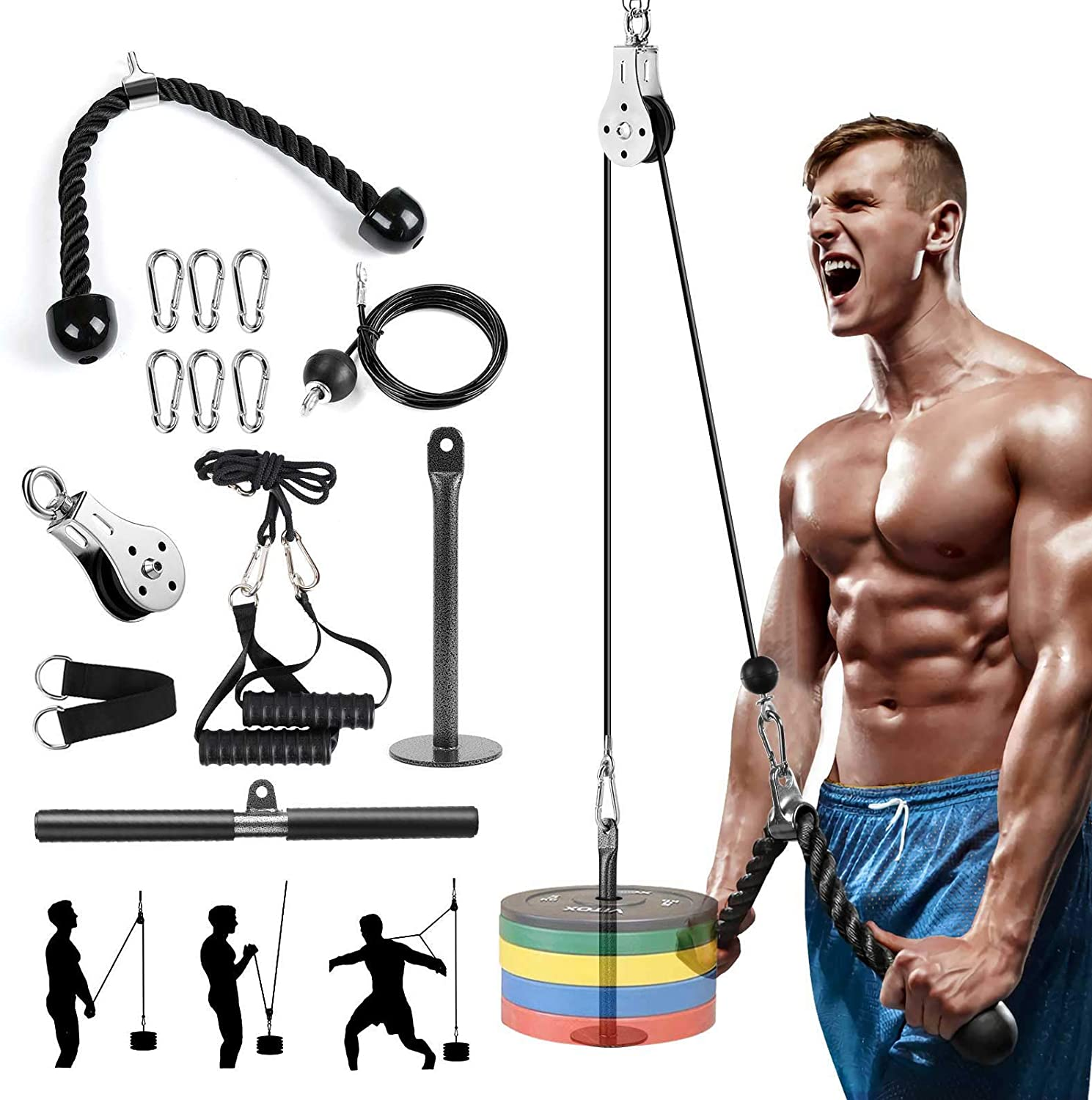 Fitness Lat and Lift Pulley System Gym, LAT Pull Down Bar Cable Machine Attachments for Gym, Tricep Pulley Pro- Cable Machine System with Curl Lat Pulldown Bar, Home Gym Workout for Weight Training