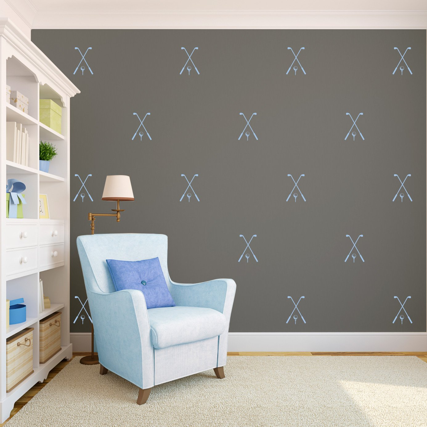 Powder Blue Golf Pattern - Set of 25 - Sports Vinyl Wall Art Decal for Homes, Offices, Kids Rooms, Nurseries, Schools, High Schools, Colleges, Universities, Interior Designers, Architects, Remodelers