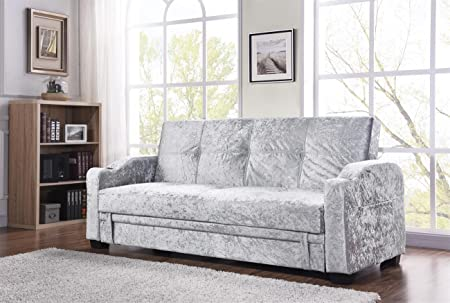 Unmatchable Crushed Velvet Fabric Storage Sofa Bed With Cupholders Black Silver  Living Room (Silver)