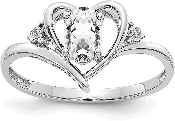 14K White Gold Polished Oval White Topaz April Stone Ring Size 7