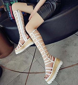 Summer Zapatos Sandalias New Wild Mujer Slope Cuero Shinik Con De Hp4H6