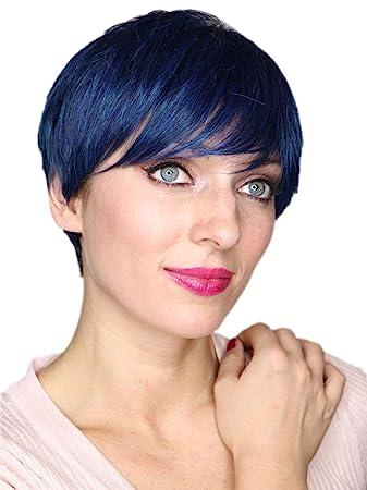 Prettyland Blau Schwarz Strahnen Kurz Haar Perucke Unisex Damen Herren Stufen Schnitt Glatt Trendy Pixie Cut Frisur C599