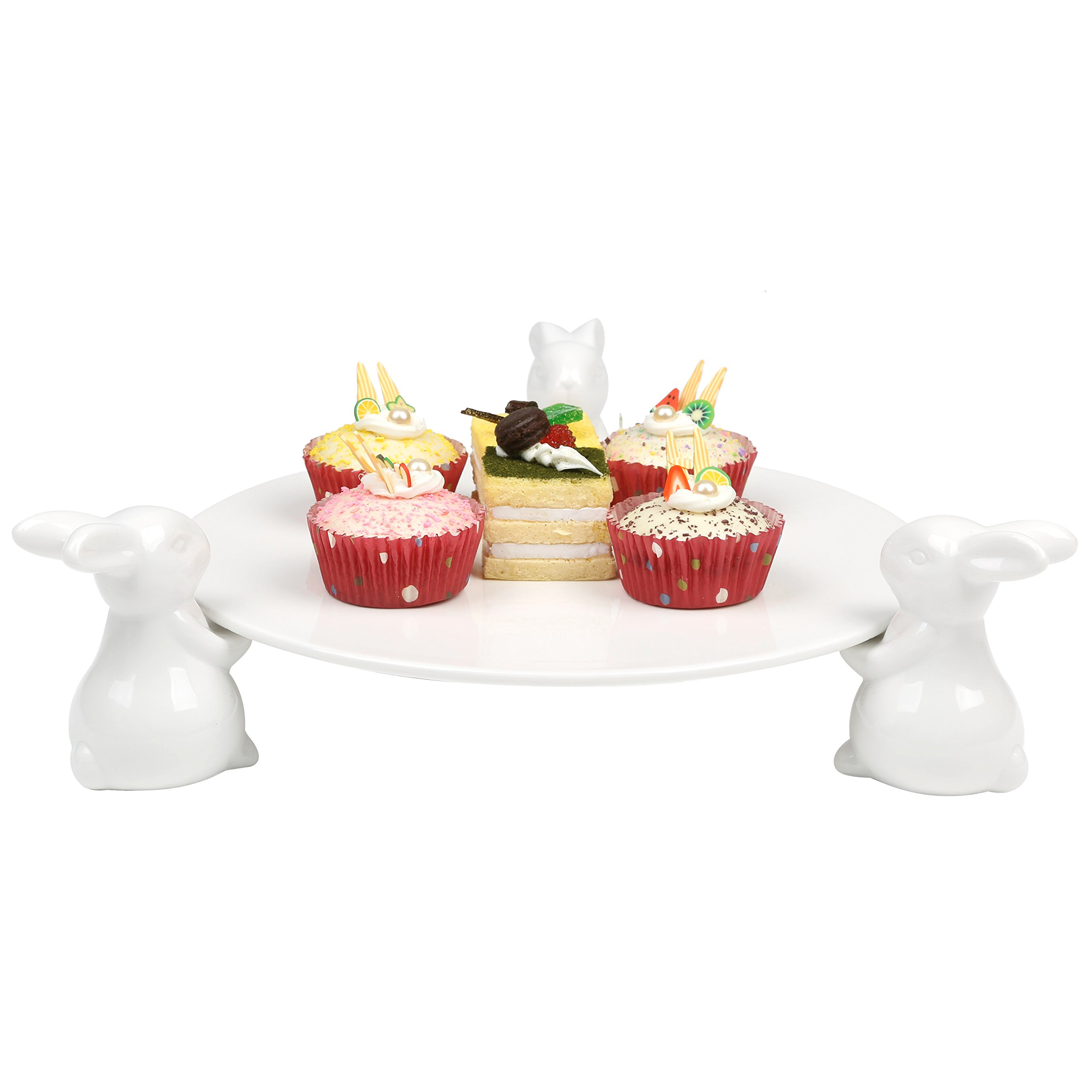 Decorative White Ceramic Bunny Rabbit Cake Stand, 16-Inch Dessert Plates Food Server Display Tray