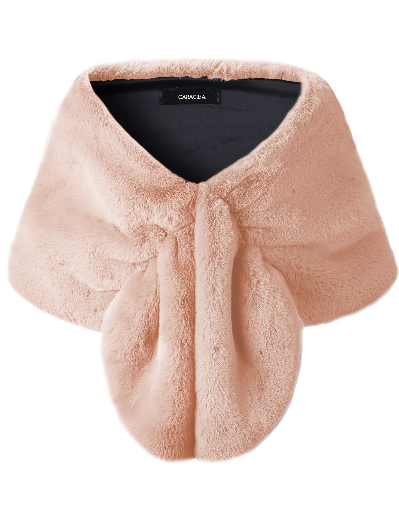 Caracilia Bridal Fur Stole, Wedding Fur Wraps & Shawls for Women and Girls oufen L CAFB4