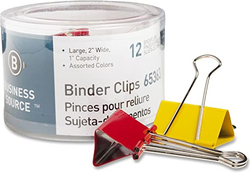 65362 Assorted Colors Business Source Medium Binder Clips Pack of 24