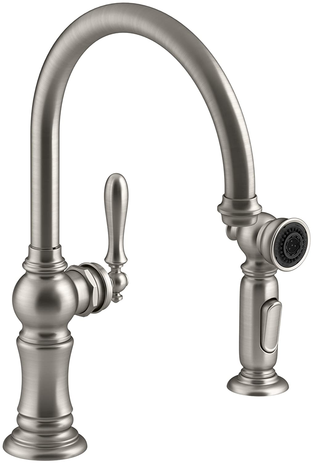 KOHLER K 99262 VS Artifacts 2 Hole Kitchen Sink Faucet And 14 11/16 Inch  Swing Spout, Vibrant Stainless     Amazon.com