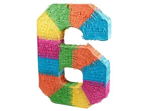 Alsino Piñata Multicolor | Forma de número 6 | para la Fiesta de Cumpleaños | Entretenimiento Niños, Piñata número 6
