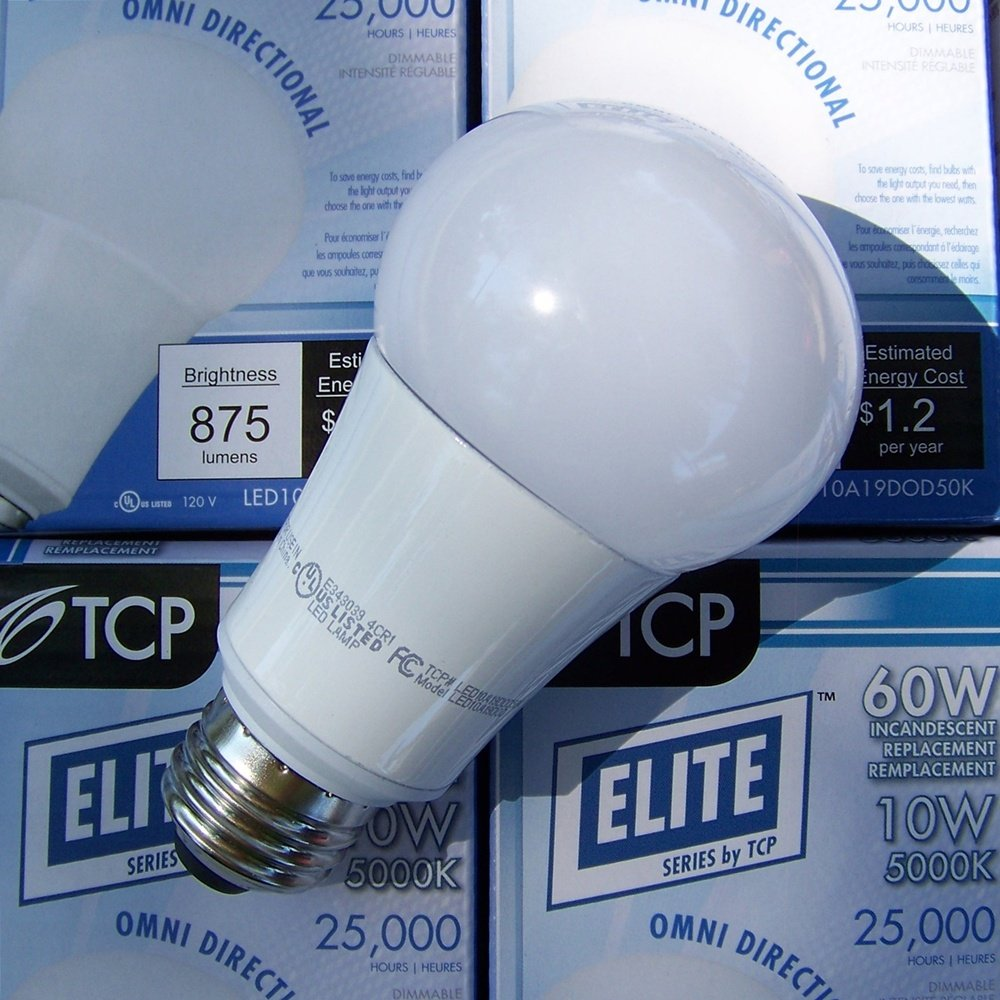 Best Tcp Dimmable 10 Watt 5000k A 19 Led Bulb Suitable For Enclosed Fixtures