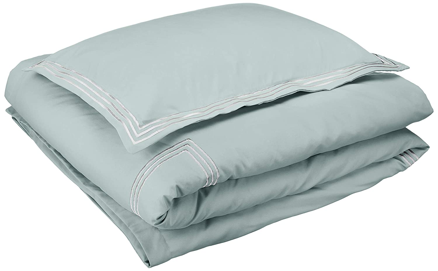 AmazonBasics Premium Embroidered Hotel Stitch Duvet Cover Set - Twin or Twin XL, Seafoam Green