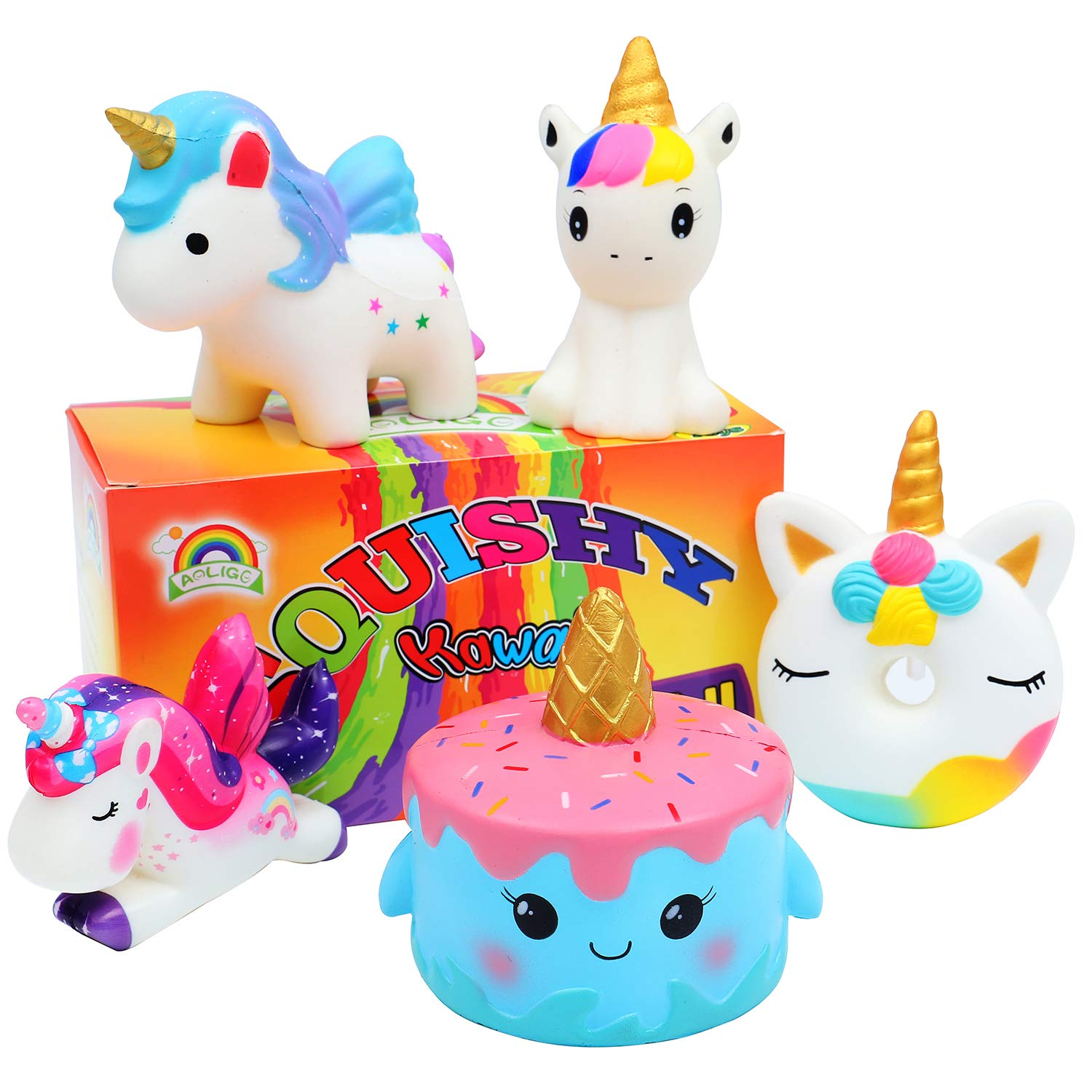 AOLIGE Kawaii Slow Rising Squishies Pack Unicorn Cake Donut Squishy Toys for Boys and Girls 5Pcs by AOLIGE (Image #1)