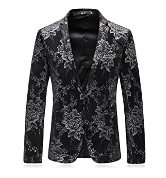 CoolredMen Ethnic Style Casual Weekend Vintage Patterned Suit Coat Impressive Patterned Suit Jacket