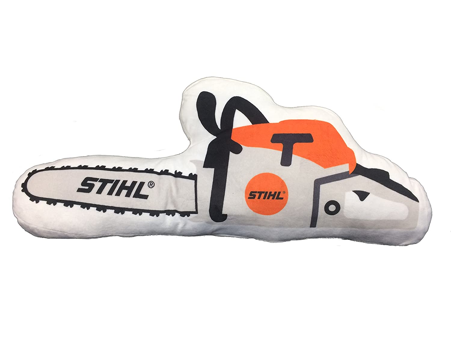 Stihl cushion in chainsaw shape made of soft plush material Length approx 50 cm