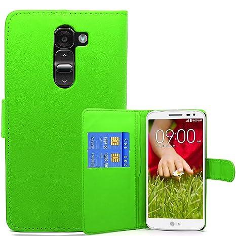 Maestro de cuero del carcasa de accesorios carcasa en folio de la PU para LG G2 Mini Verde