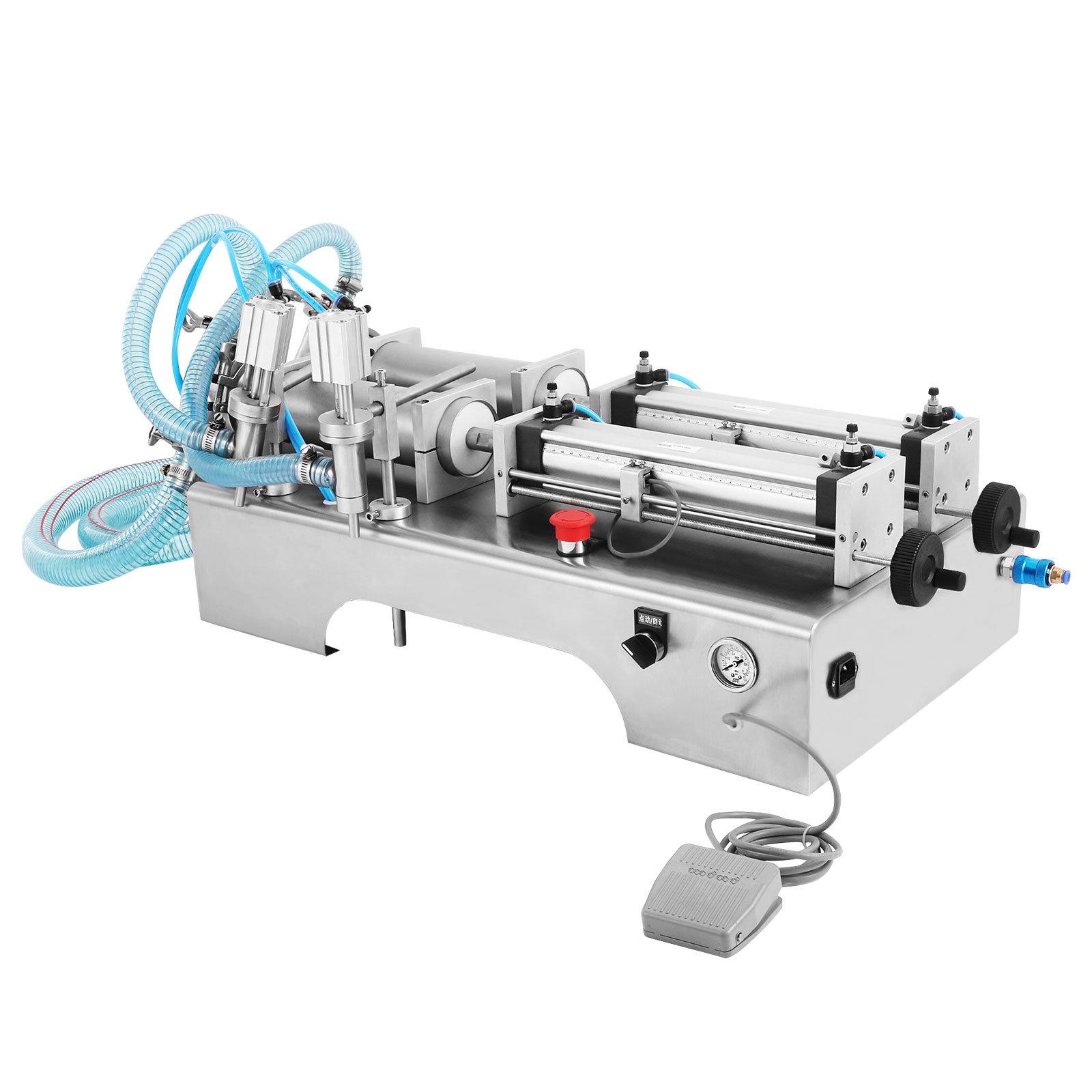 Happybuy 100-1000ML Pneumatic Liquid Filling Machine 20-60 bottles/min Horizontal Semi-auto Liquid Paste Filling Machine Two Head Pneumatic Filling Machinefor Liquid Oil Cream (100-1000ML Two Head)