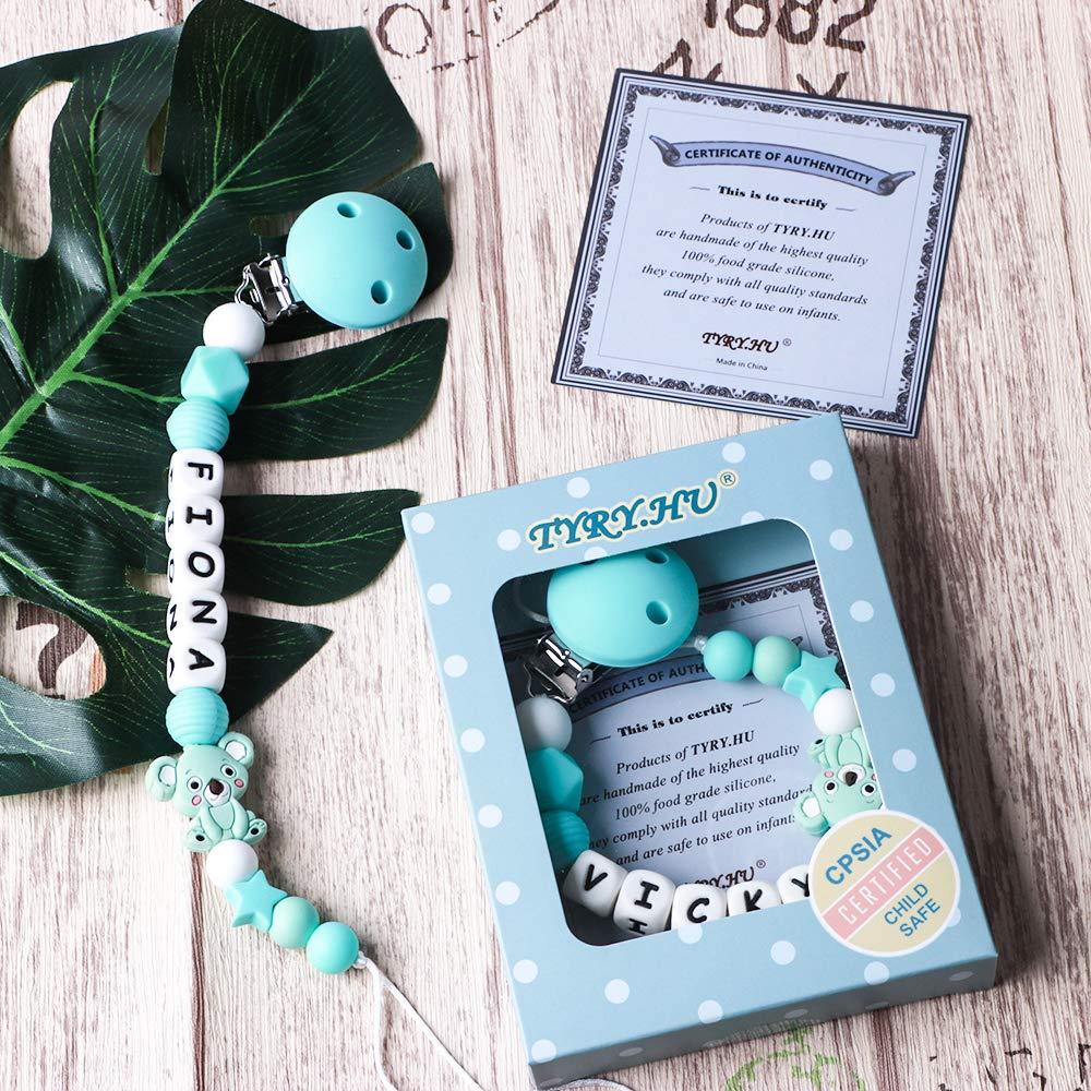 Clip Ciuccio con Nome Personalizzata Procione Massaggiagengive Porta ciuccio BPA Gratuito Baby Shower Regali