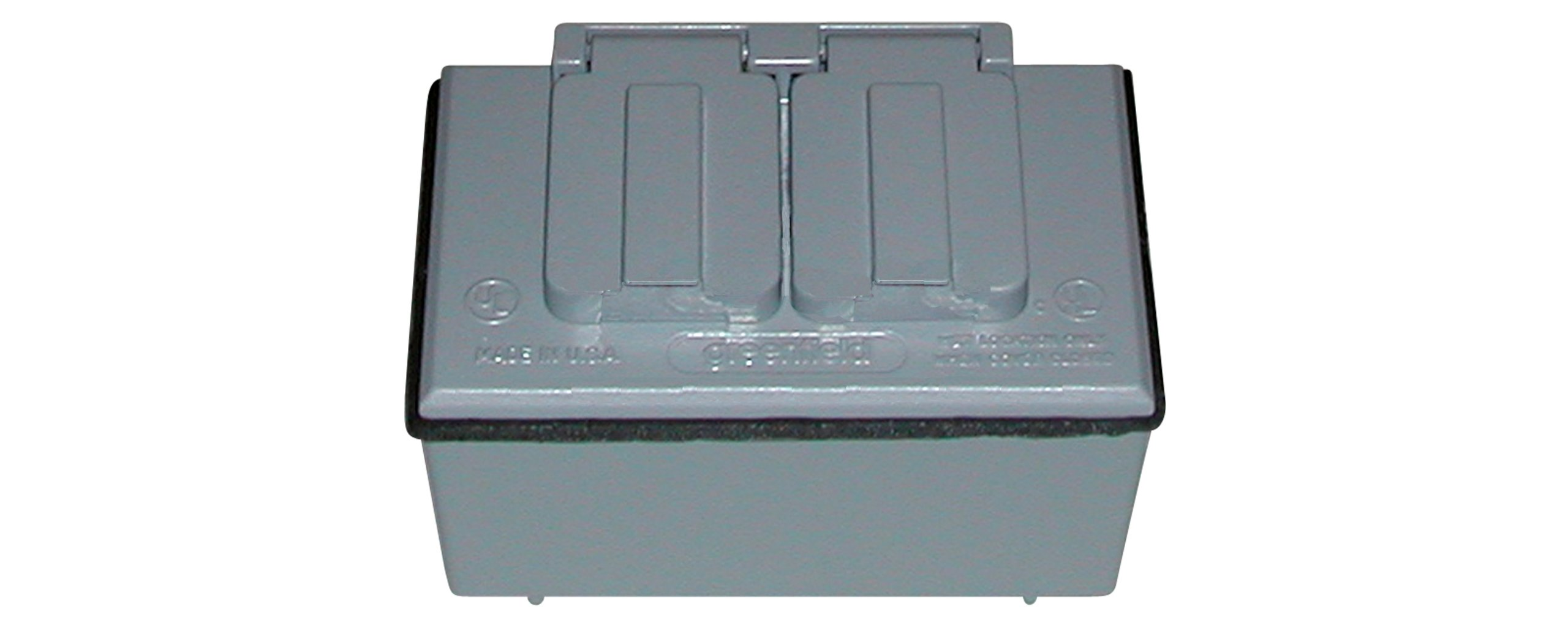 Made in USA Weatherproof Electrical Outlet Box, Box Cover & Duplex Outlet Kit Gray by Greenfield