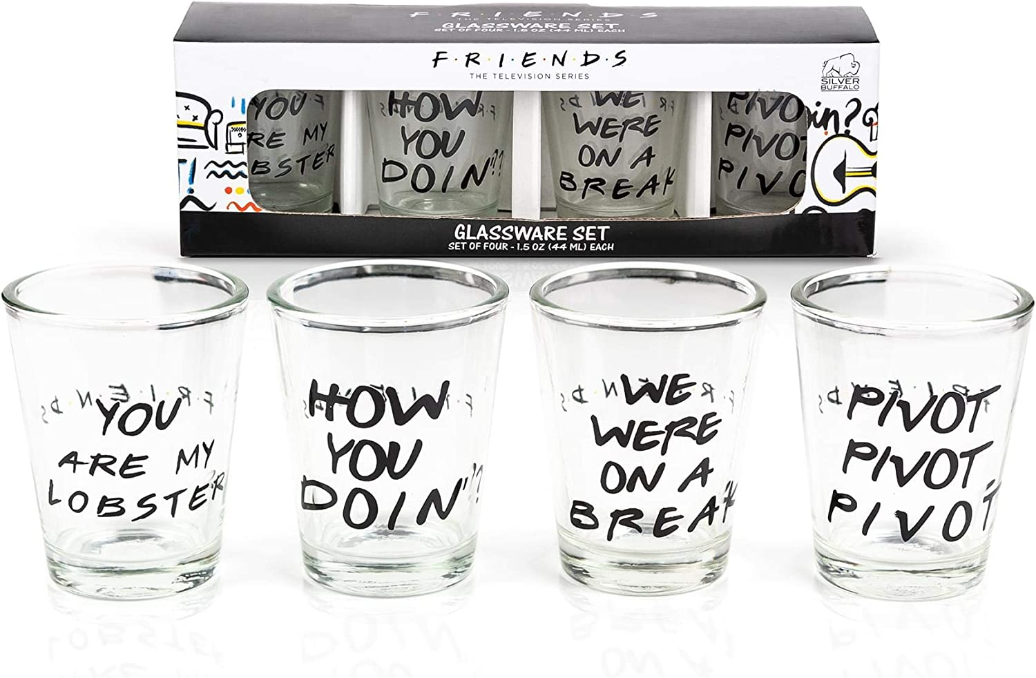 Silver Buffalo Friends with Texts Mini Glass 4 Piece Set, 1.5-Ounces Each, 1.5 Ounce, Multicolored