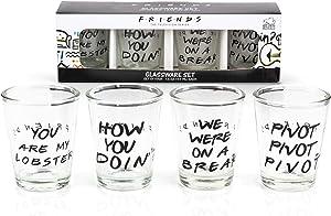Silver Buffalo Friends with Texts Mini Glass 4 Piece Set, 1.5-Ounces Each, 1.5 Ounce, Multicolored