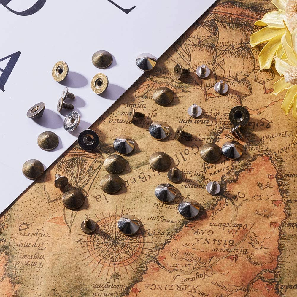 NBEADS 200pcs Leather Rivets Metal Bullet Studs Cone Spikes Screw for Punk Jewelry Belt Bag Leathercraft Clothes Shoes 10x7mm Silver and Gold