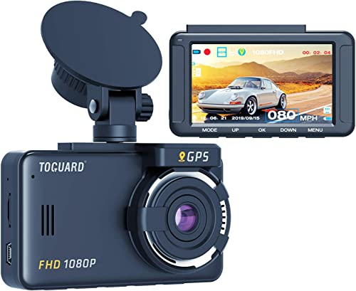 TOGUARD Dash Cam Built-in GPS 1080P Full HD Dash Camera for Cars Recorder 3 LCD 170 Wide Angle Mini in Car Camera with G-Sensor, Loop Recording, Motion Detection, 24H Parking Monitor and HDR