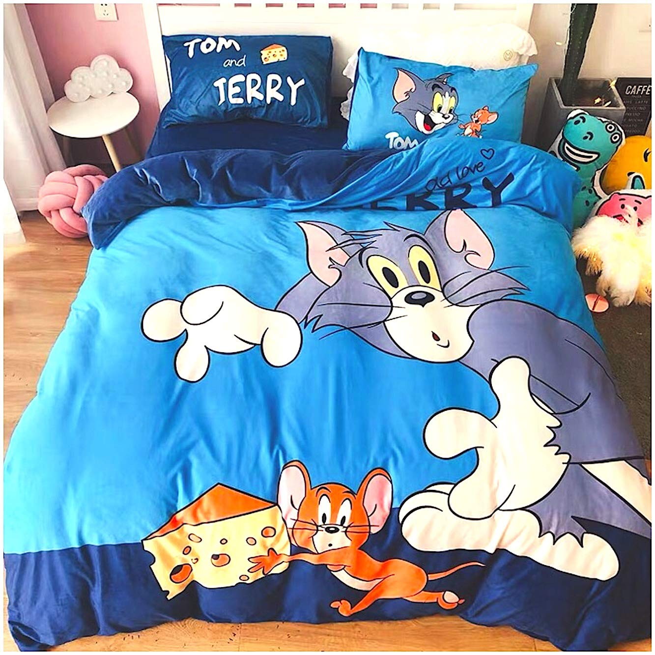 Peachy Baby Featuring Tom and Jerry Bedding Sheet Set Single Queen King Twin Full Size Fleece Velvet Flannel Cute Cartoon 3/4 Pieces Pillowcase Duvet Cover Flat Sheet (Queen/Double/Full Size)