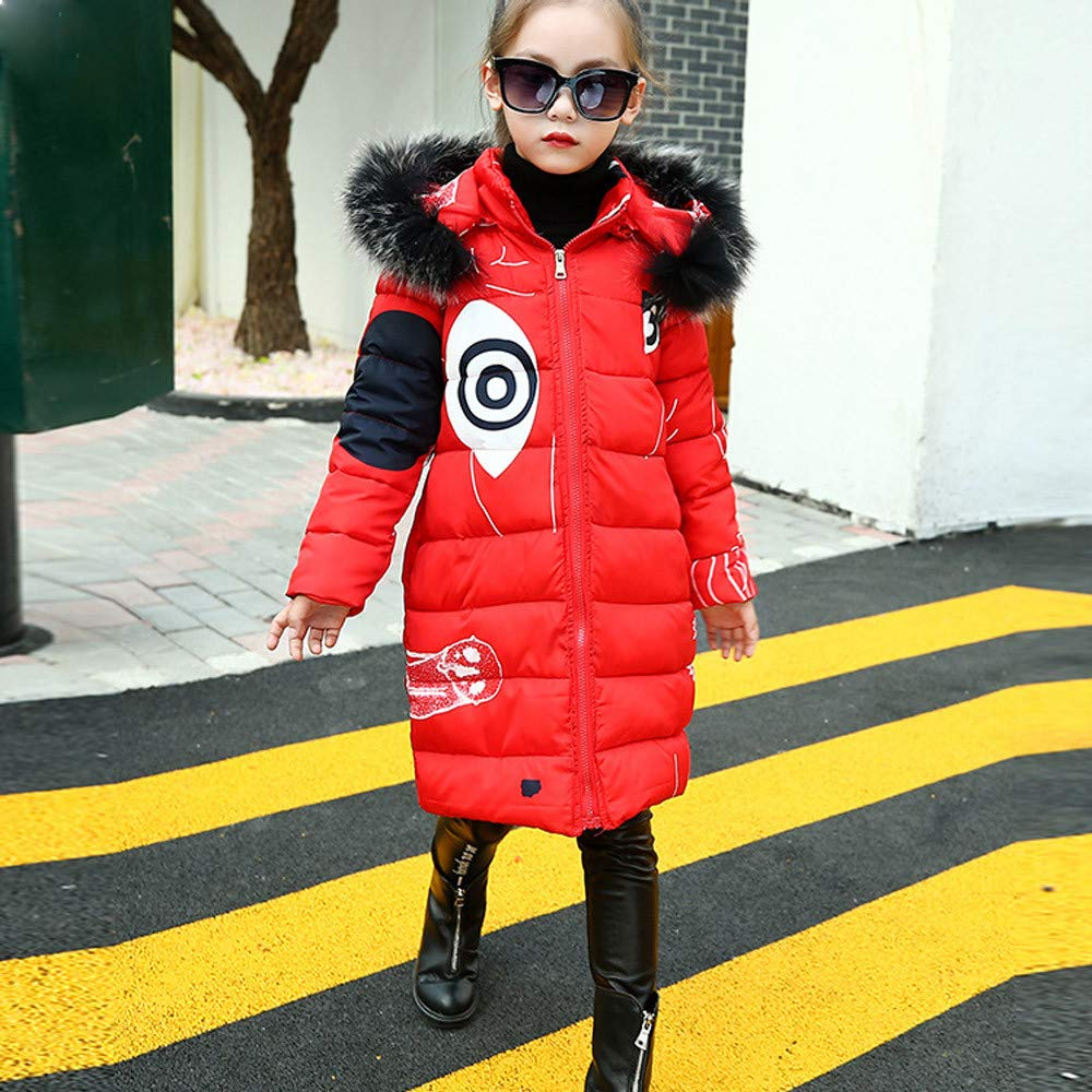 dumanfs Toddler Kids Girl Winter Padded Faux Fur Hooded Coat Warm Long Jacket Printing Thick Outerwear 3T-8T