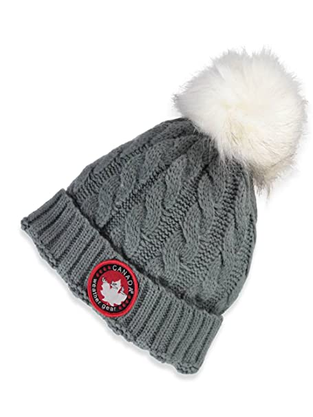 a9e93f6b0b870 Canada Weather Gear Grey Chunky Cable Knit Hat Beanie with Fur Pom Pom -  Grey  Amazon.ca  Clothing   Accessories