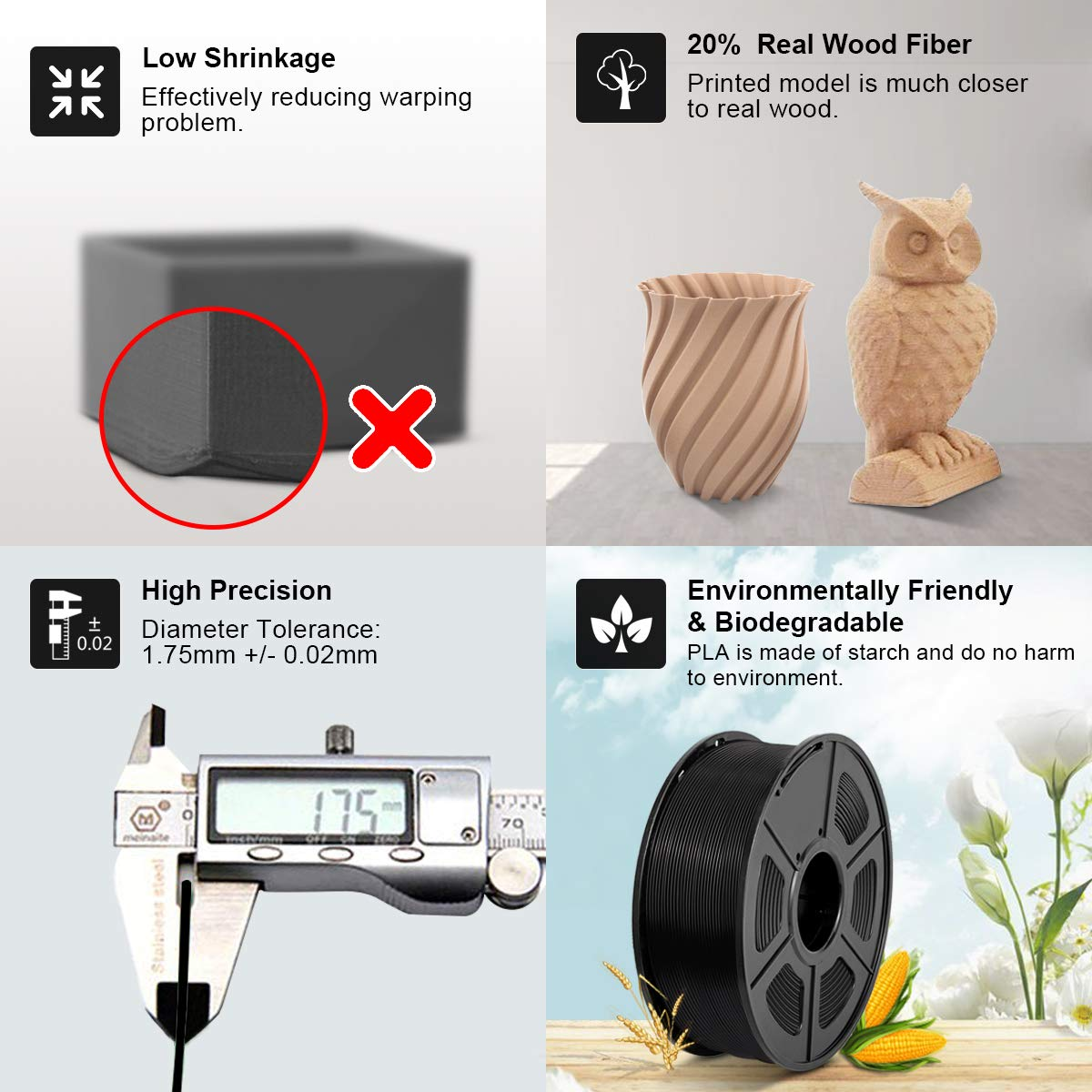 PLA Carbon Fiber Filament 1.75mm 2.2 lb Extremely Rigid 3D Printer Filament Carbon Fiber 3D Printer Filament 1KG Black