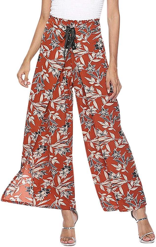 cinnamou Pantalones Mujer, Pantalones Anchos Estampado Vendaje ...