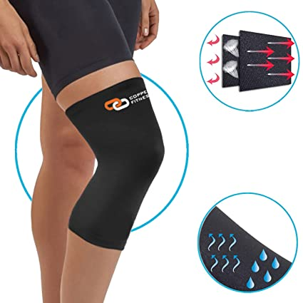 5e72cff83f Copper Fitness NON SLIP Recovery Knee Brace, BREATHABLE & SWEAT Releasing  Fabric for Men &