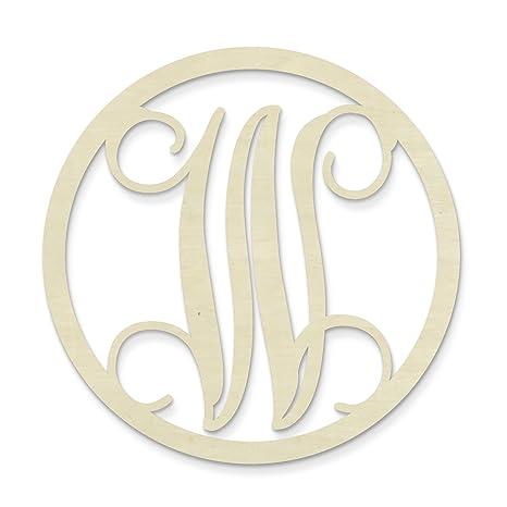 Amazon.com: unfinishedwoodco sola letra de círculo monogram ...