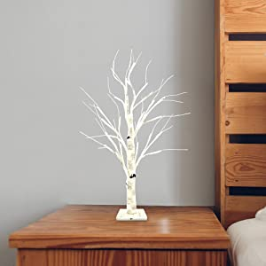 """Joiedomi 24"""" LED Birch Tree with 24 Lights, Warm White Tabletop Centerpiece Bonsai Tree Light Jewelry Holder Decor for Home Party Wedding Christmas Holiday Decorations"""