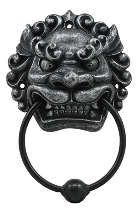 Ebros Far East Oriental Mushu Chinese Dragon Door Knocker Figurine Resin  With Metal Ball Ring