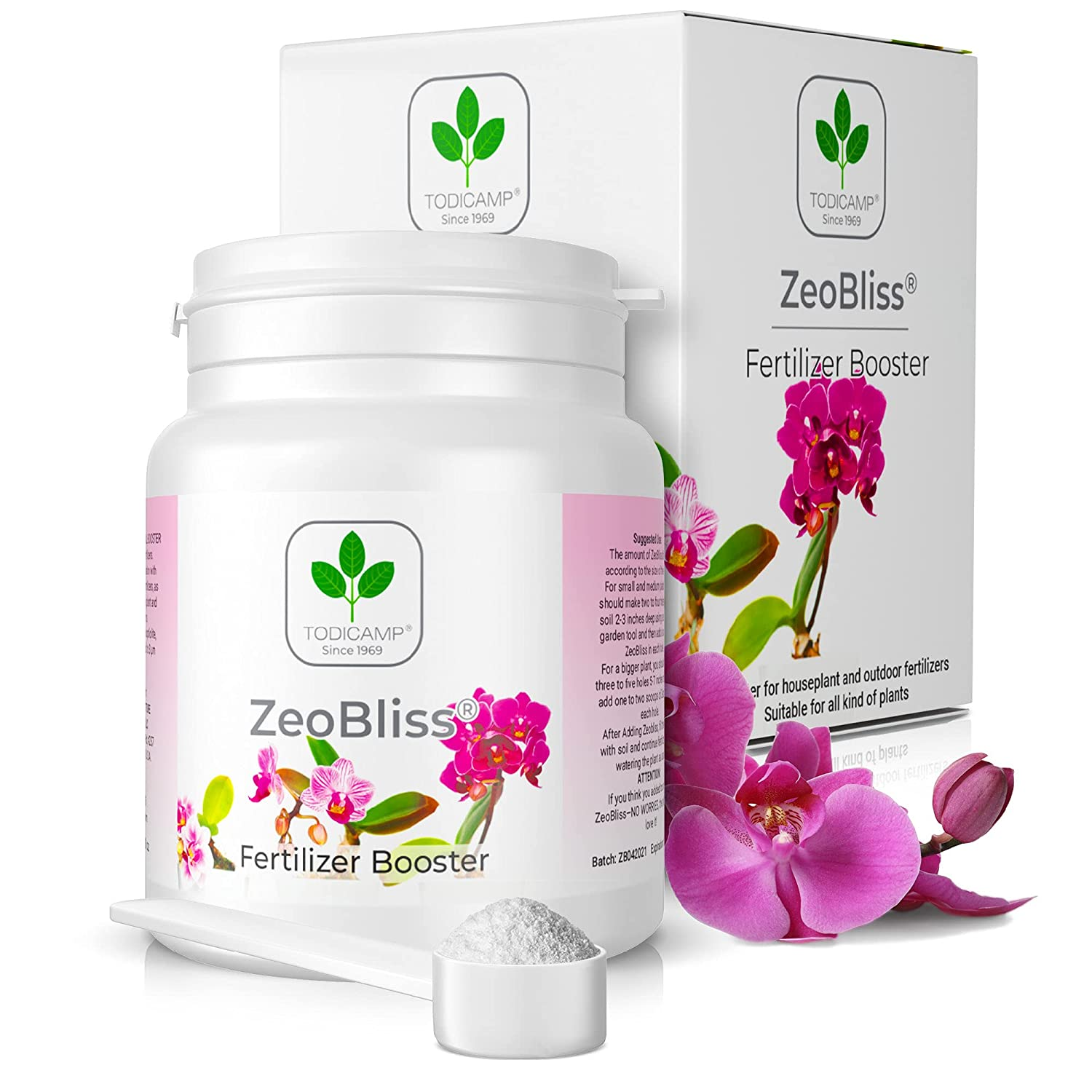 Plant Food & Fertilizer Booster for Flowers & Plant fertilizers - 2-in-1 - ZeoBliss by TODICAMP - All Valuable Minerals for Your Plants! - All Natural! - Pet Friendly! - (3.5 oz - 125 Doses)