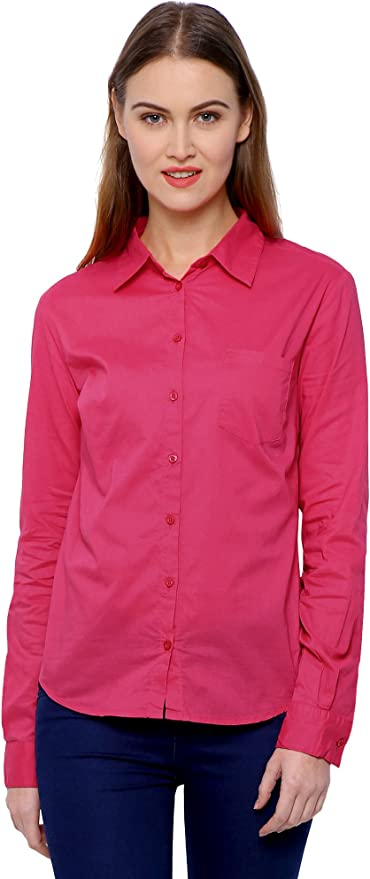 MansiCollections Solid Formal Pink Shirt for Women Women\'s Blouses   Shirts