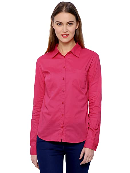 MansiCollections Solid Formal Pink Shirt for Women Shirts