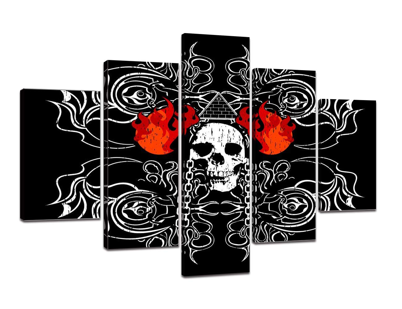 Extra Large Rustic Skeletons Design Painting on Canvas Black White Wall Art Eerie Bones Home Decor Day of The Dead Picture,Framed Artwork for Living Room 5 Panel Stretched Ready to Hang(60''Wx40''H)