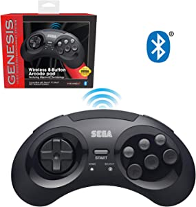 Retro-Bit Official Sega Genesis Bluetooth Controller 8-Button Arcade Pad for Android, PC, Mac, Steam - Black