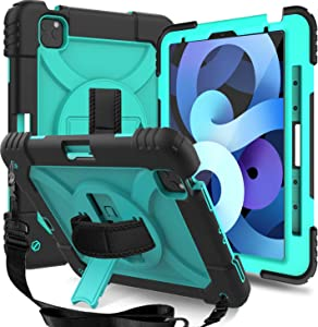 MENZO New iPad Air 4 10.9-inch Case 2020 Release, 3-Layer Shoulder Strap Rugged case with Pencil Holder Rotating Strap/Stand for iPad Air 4th Gen/Pro 11 inch 2020 2nd Gen/2018 1st Gen, Mint Green