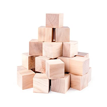 Amazon Com Unfinished Wood Blocks Cubes For Arts Crafts Toy