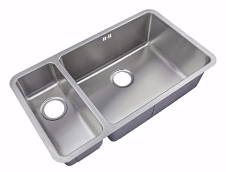 Kitchen Sinks Undermount 1.5 Bowl Brushed Steel (D02R): Amazon.co.uk