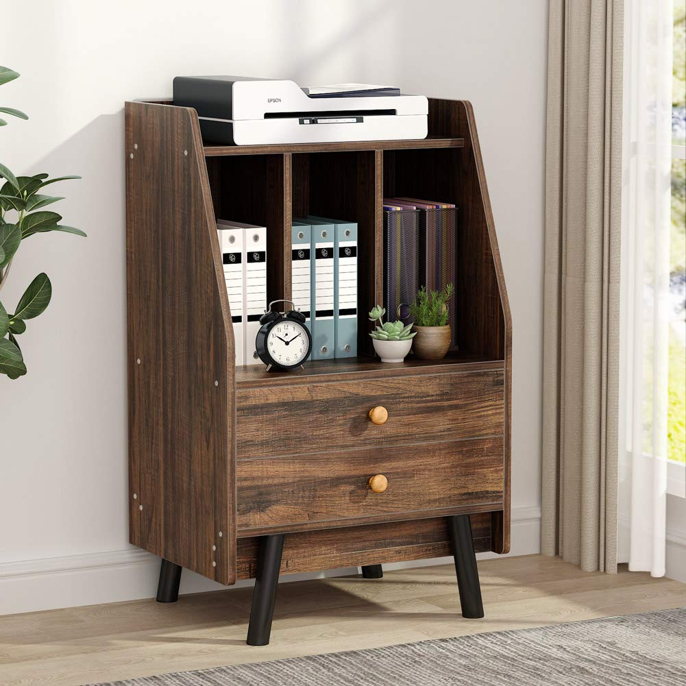 Tribesigns File Cabinet with 2 Drawers, Rustic High Lateral Filing Cabinets Printer Stand with Split Storage Space for Study, Home Office by Tribesigns