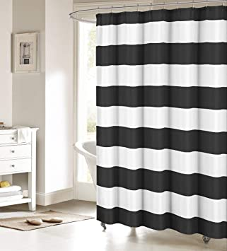 Fabric Shower Curtain Nautical Stripe Design Black And White
