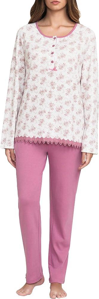 Conjunto Pijama Largo Mujer 100% algodón Ropa de Dormir Invierno ...