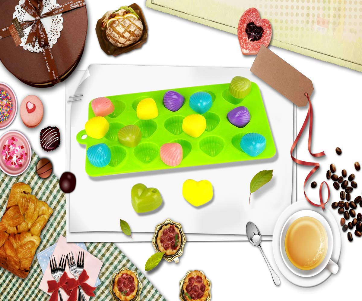 CKANDAY 4 Paquete moldes de Silicona para Dulces de Chocolate, con 1 pz Gotero líquido Graduado 5 ML, moldes de horneado antiadherentes Bandejas de Cubitos ...